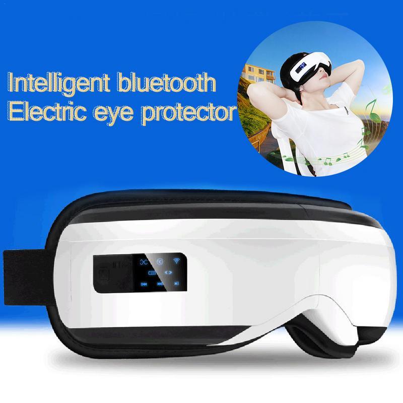 USB Olhos Massageador Elétrico Vibração Aquecimento do Infravermelho Distante Terapia de Pressão de Ar Música SPA Olho Óculos de Cabeça Alívio do Estresse Para Estudante