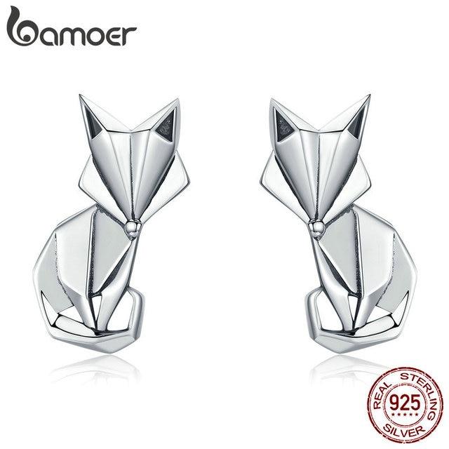 BAMOER Лидер продаж натуральная 925 пробы серебро Мода Складные лиса серьги-гвоздики с животными для Для Женщин стерлингов Серебряные ювелирные изделия SCE526