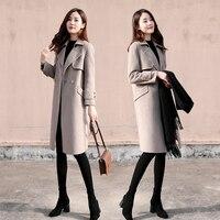 2019 Spring Autumn New Woolen Jacket Women Long sleeved S Gray Slim Casual Korean Winter Cashmere Long Female Woolen Coat W39