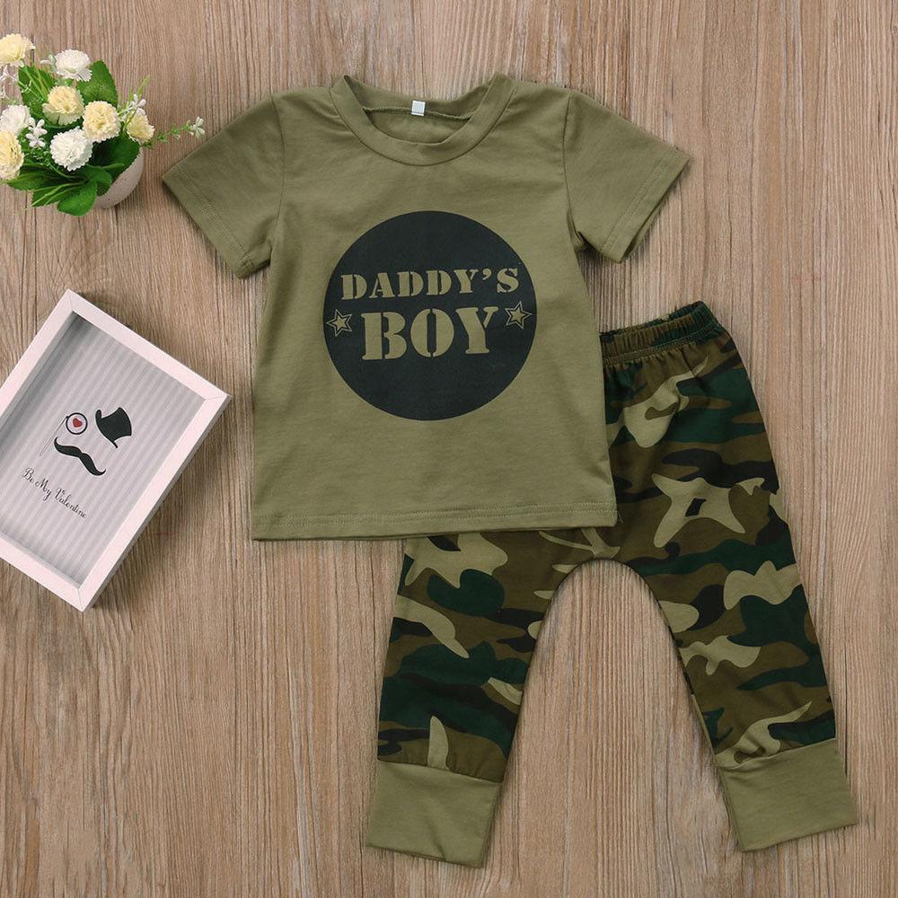 Lovely Children Camouflage Army Print T Shirt Boys Short Sleeve Green Brown Shirt T-shirts & Tops