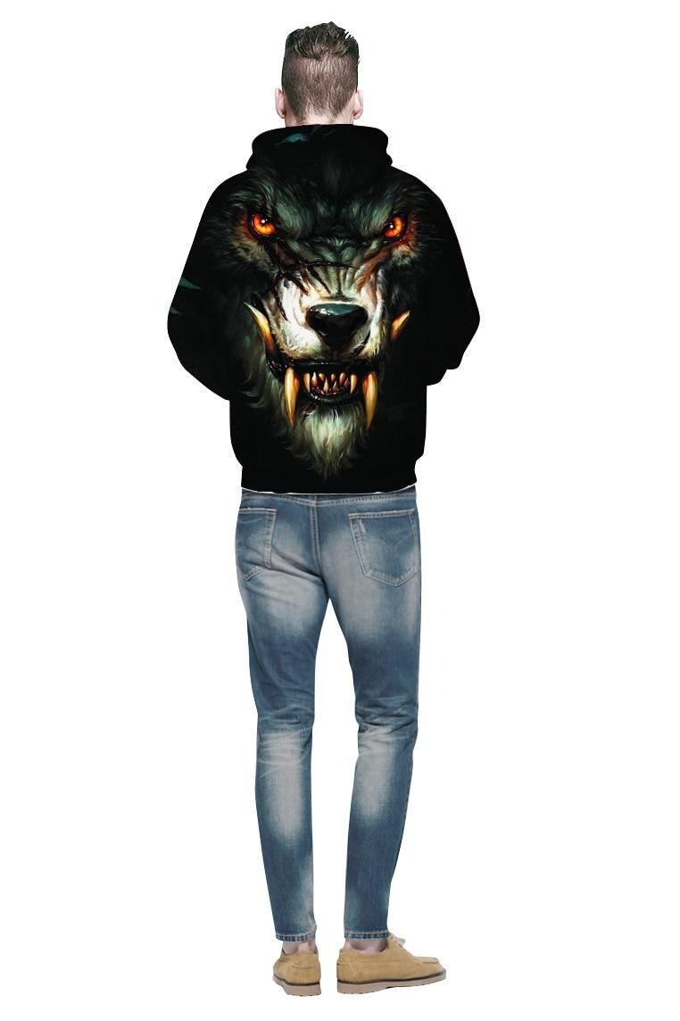 Werewolf 3D digital printing  hoodie European and American streetwear loose hooded  hoodie