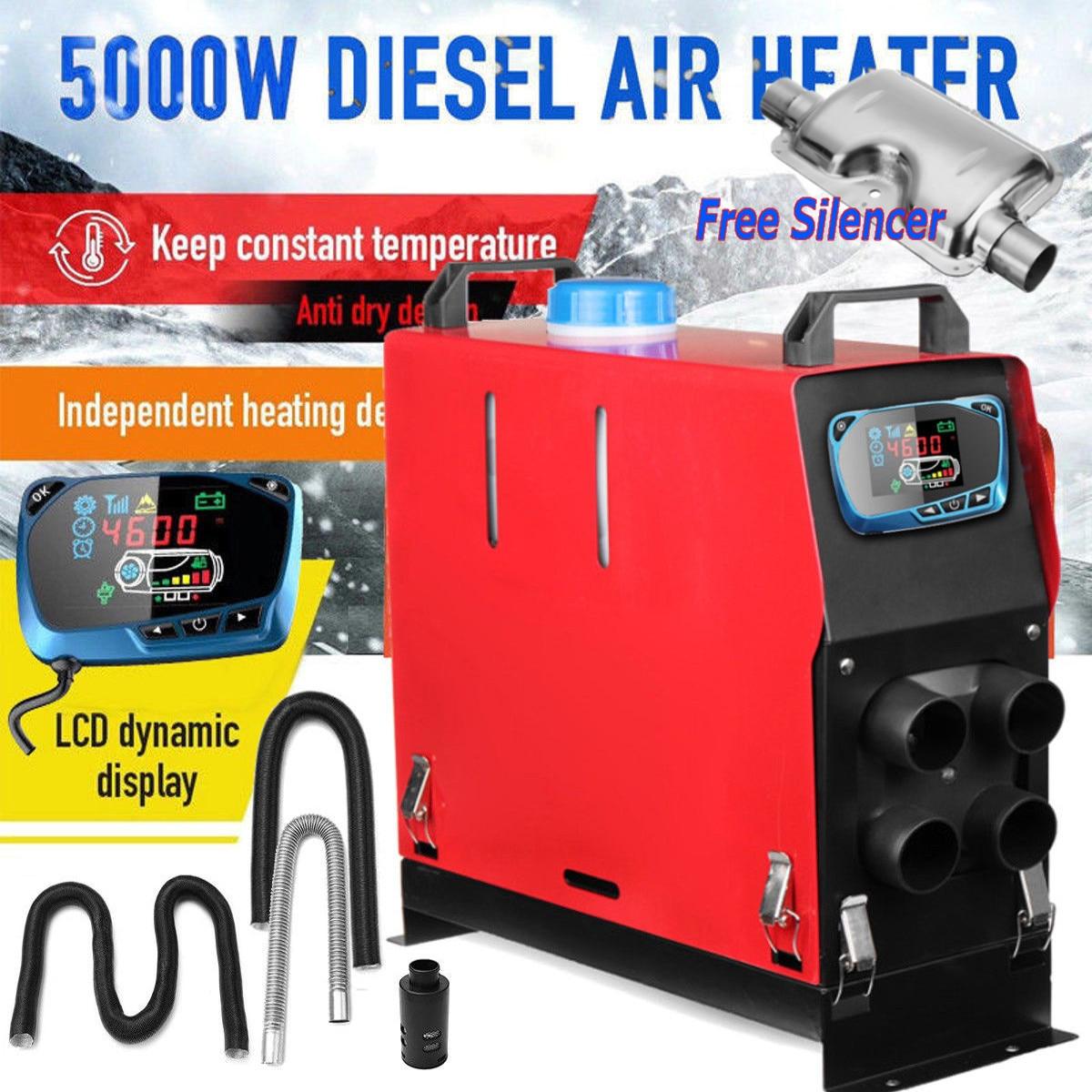 5000 w Air diesels Chauffe-5KW 12 v Chauffage De la Voiture Pour Camions Moteur-Maisons Bateaux Bus + Date LCD interrupteur à clé + Silencieux