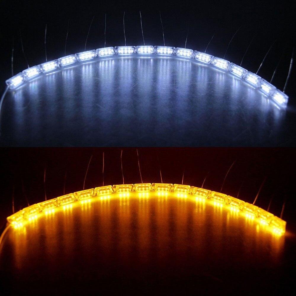 Vehemo 2 шт. дневные ходовые огни полосы света Поворотная лампа движущаяся дальнего света для автомобилей Водонепроницаемый светодиодный для декоративных
