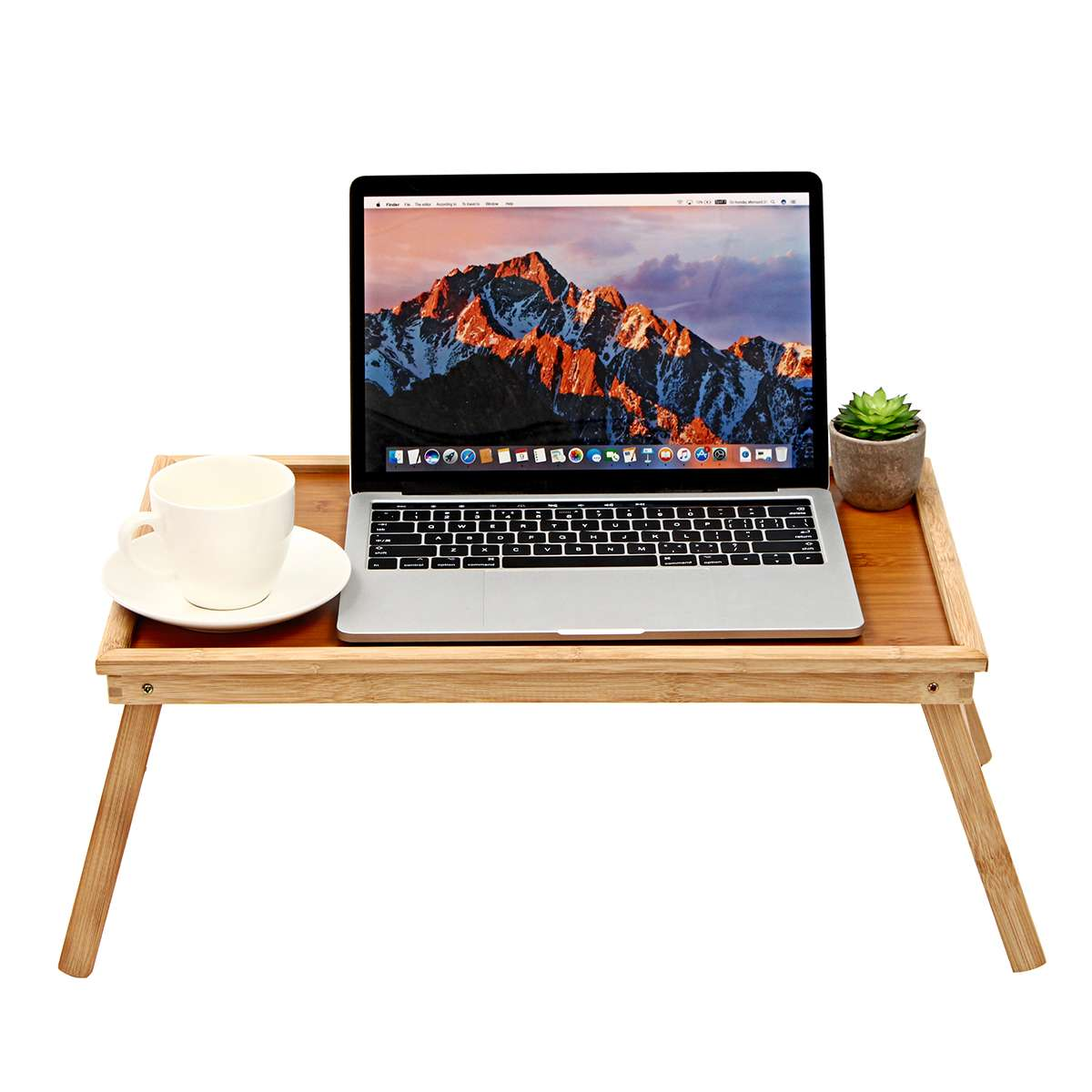 20'' Portable Bamboo Laptop Desk Bed Serving Tray Foldable Notebook Table Holder Computer Desks Office Furniture 50*30*20CM