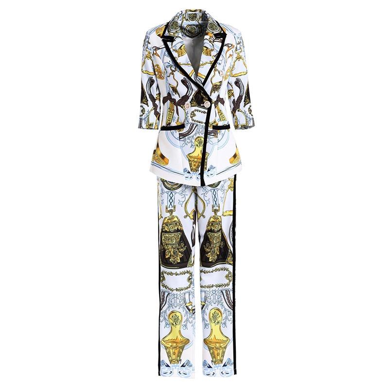 Costume Ensembles Travail Élégant Qualité Supérieure Pièces De Blazer White Imprimer 2018 Designer Automne Pantalon Tenues Femmes Piste Bureau Deux gYSxpnY