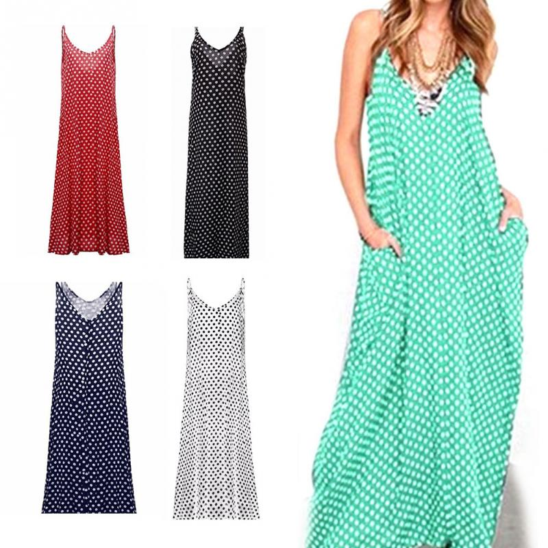 Chic Style Women Polka Dots Dress V Neck Sleeveless Loose Maxi Long Beach  Dress Plus Size Chiffon One Piece Sexy Slip Dress 1102-in Dresses from  Women s ... 9a63713b612a