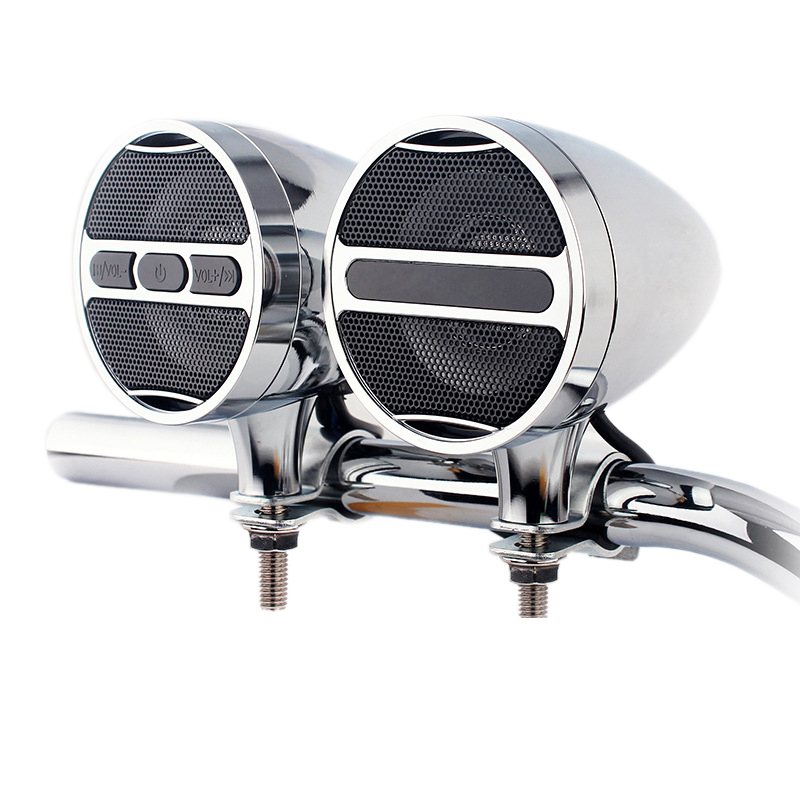Hot TTKK 12V Motorcycle Mp3 Bluetooth Audio All Metal Car Handlebar Audio Electric Car Waterproof Horn Plug In Radio Box