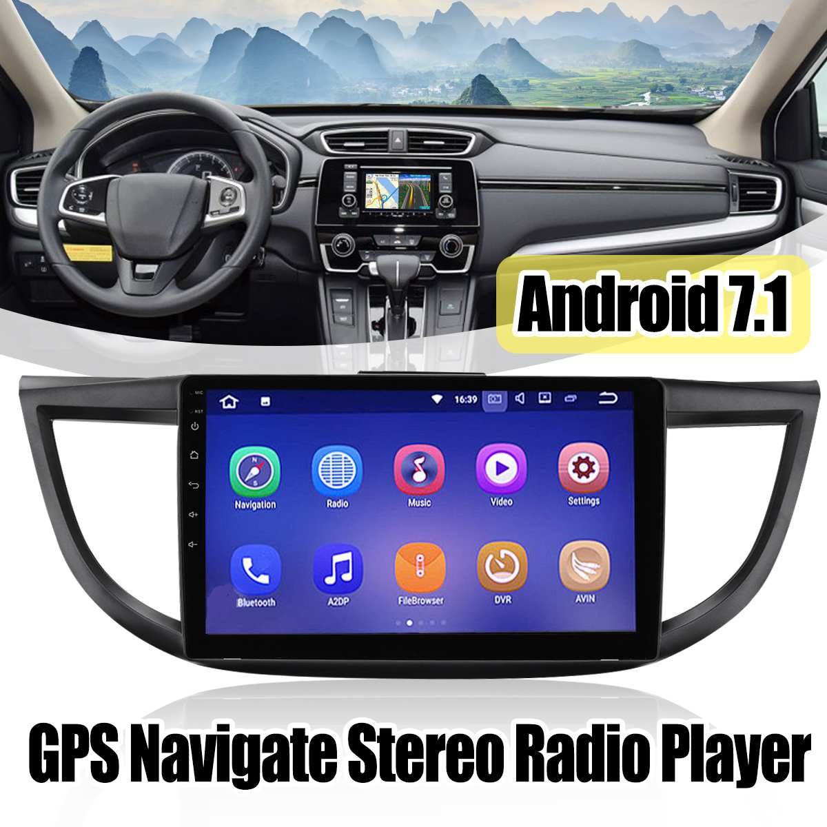 for Honda CR-V for CRV 2012-2016  Car Radio 10.2 Inch Android 7.1 Car Multimedia Player Car Navigation Video Audio Payer 2 din