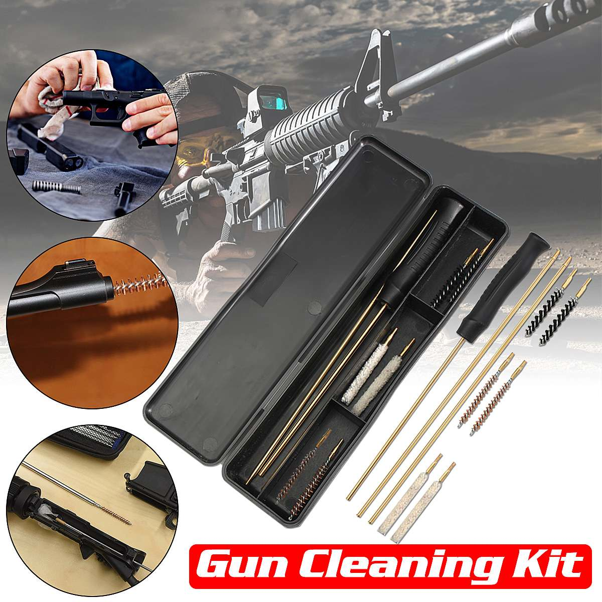 Barrel Cleaning Kits Air Rifle Pistol Gun Airgun Rimfire .177 /& .22 Brushes  Y
