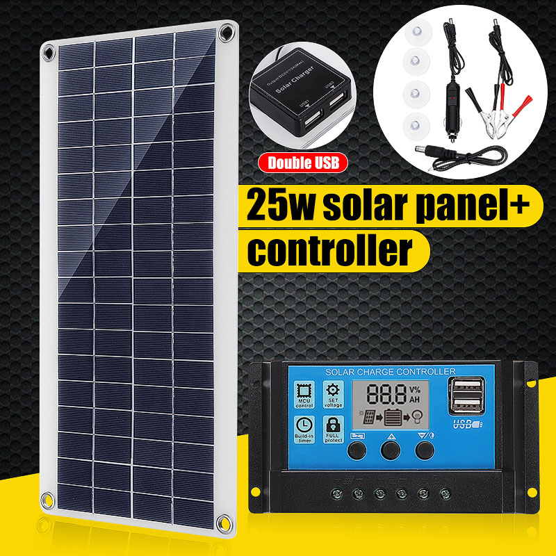 12V 25W Dual USB Solar Panel With Car Charger + 10/20/30/40A USB Solar Charger Controller For Outdoor Camping LED Light