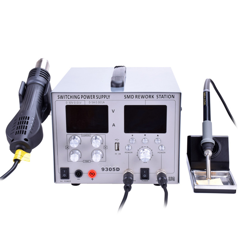 Tools : 110V 220V 9305D 4 in 1 Hot Air Rework Station   Soldering Iron Station   30V 5A DC Switching Power Supply   DC 5V 2A USB