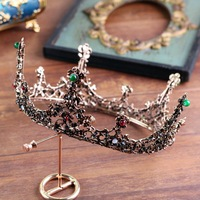 Retro Crystal Round Crown Queen Tiara Baroque Wedding Bridal Headdress Hair Accessories for Women Costume Headwear Jewelry Gifts