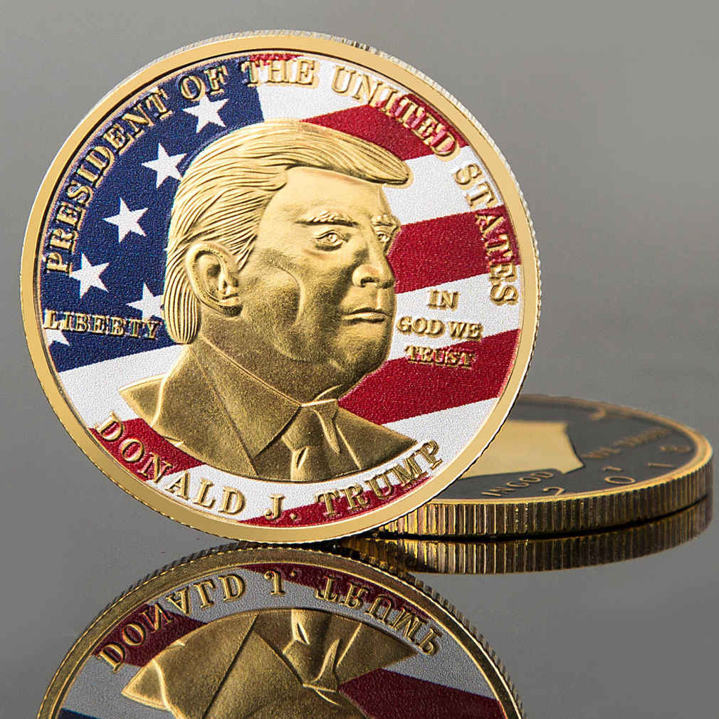 2019 New Donald Trump President Commemorative Coin Gold Silver Plated Bitcoin Collectible Gift Bit coins Historical Memorabilia