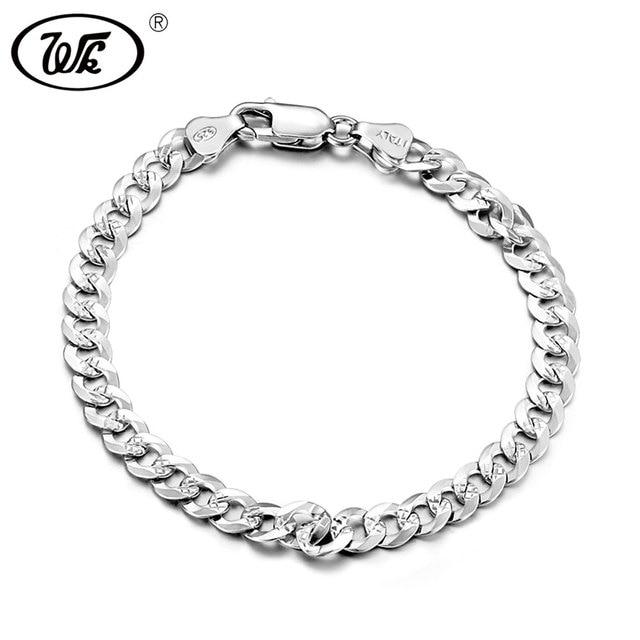 Wk Genuine 925 Sterling Silver Bracelet Men Male Boys Hiphop Curb Cuban Hip Hop Hand Chain