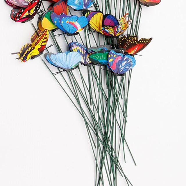 20Pcs/set 3D Double Layer Butterfly On Sticks Home Yard Lawn Flowerpot Plant