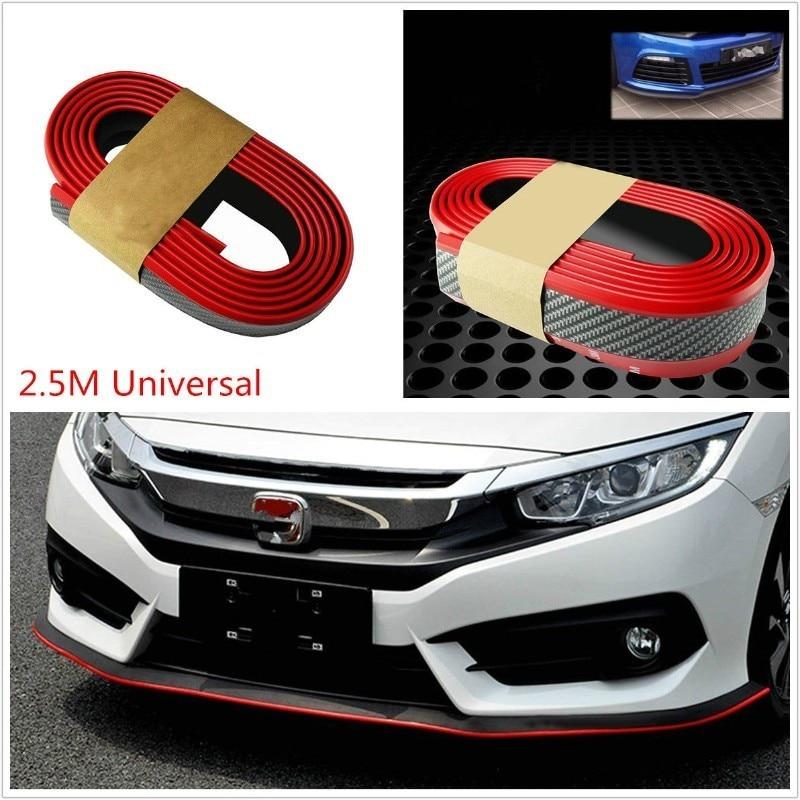 2.5 / M Universal Red Carbon Fiber Car Front Lip Reduces Scratch Edge Bumper Tape