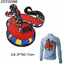 ZOTOONE New Cool Colorful Snake Patches Iron on Applique Embroidery Punk Large for Jacket Clothing DIY Sew Badges E