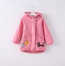 spring girl pink jackets embroidery animal hooded girls outerwear coats kids jacket toddler baby outfit fashion children clothes