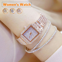 Women Luxury Watch Diamond Dress Watches Ladies Stainless Steel Fashion Female Rhinestone Bling Quartz Watch Gift