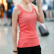Sequin Lace Sling Summer Tank Top Women Cotton Sexy Rhinestone Sleeveless Slim Camisole Cami Vest Casual Loose Solid Female все цены