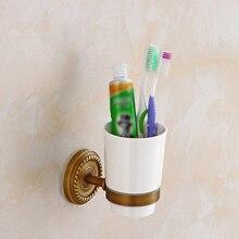 Soporte de doble taza antigua de cobre elegante montado en la pared cepillo de dientes estante para vasos Vasos de cerámica soportes para Baño