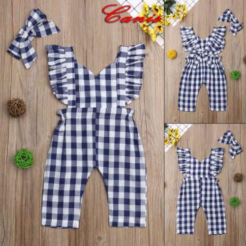 2019 Emmababy Cute Kids Baby Meisjes Plaids Bib Broek Romper Jumpsuit Overalls Outfits Kleding 0-3 t