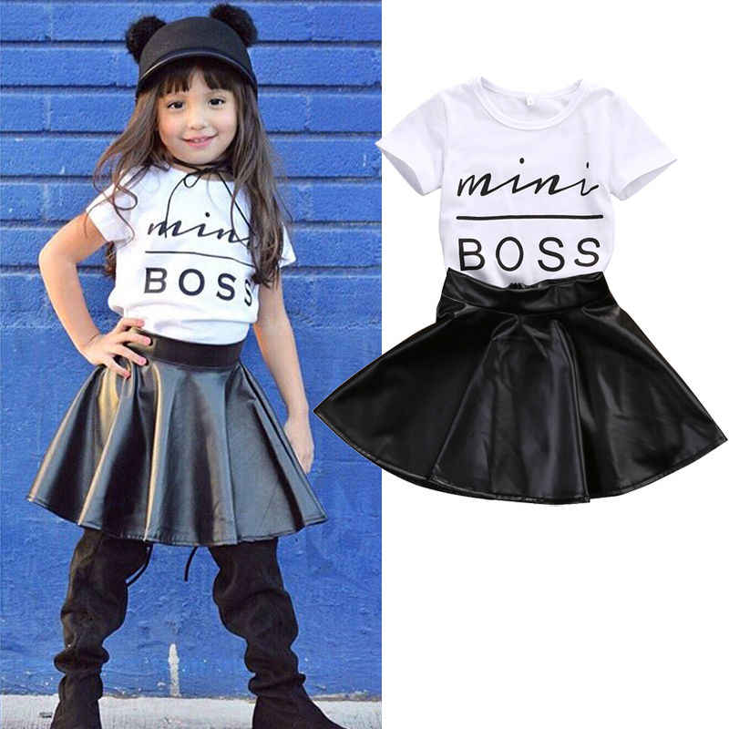 a4eea0d5148d Toddler Baby Girl Clothes Summer Kids Mini Boss Graphic Tees Shirt PU Skirt  Outfits Set 1