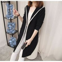 2018 Autumn And Winter Women Long Trench Coat Korean Style Loose Hooded Casual Solid Color Cardigan