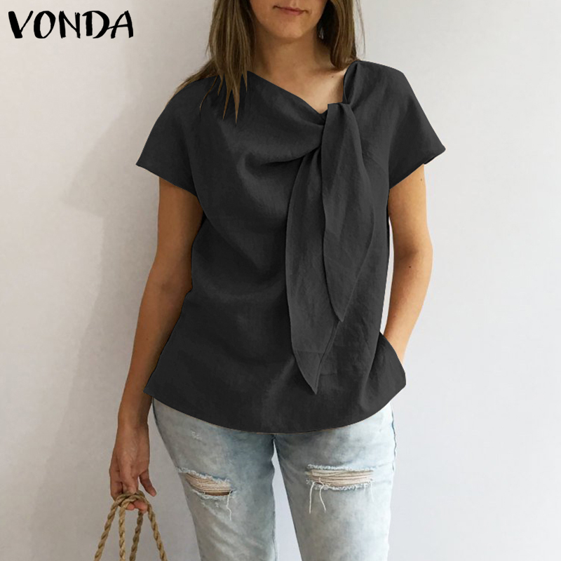 VONDA Women Blouses Shirts 2019 Summer Vintage O Neck Short Sleeve Shirt Casual Loose Solid Tops Plus Size Female Blusas