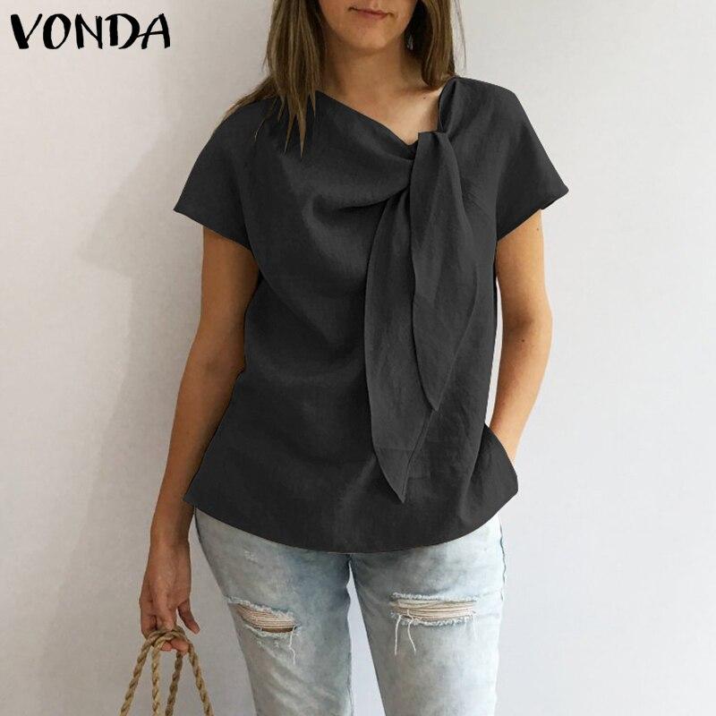 VONDA Women Blouses Shirts 2019 Summer Vintage O Neck Short Sleeve Shir