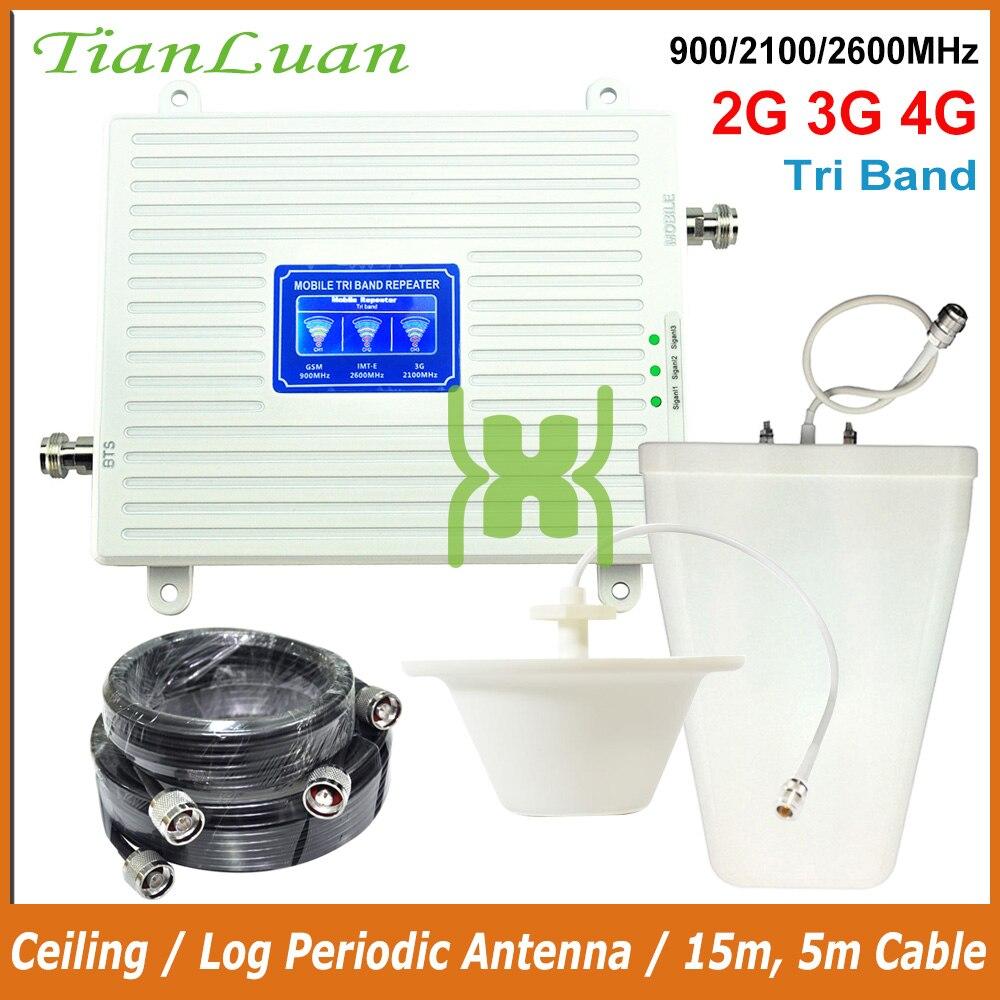 TianLuan Mobile Téléphone 900 mhz 2100 mhz 2600 mhz Signal Booster GSM 2g 3g 4g LTE FDD IMT-E Signal Répéteur avec Plafond/Log Antenne