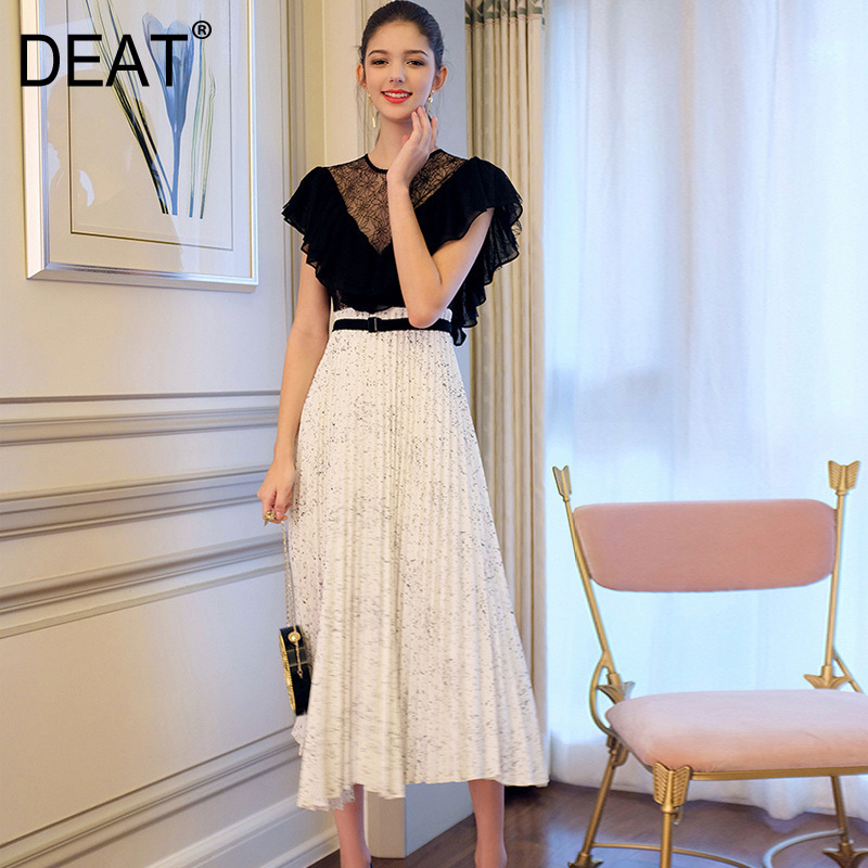DEAT 2019 new summer fashion women thin clothes round neck ruffles lace hollow out sexy patchwork
