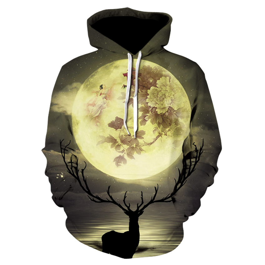 EUR Plus Size Sika Deer <font><b>Hoodies</b></font> <font><b>3d</b></font> Print <font><b>Animal</b></font> Wolf Men's Hoody Sweatshirt Alisister Hip Hop <font><b>Unisex</b></font> Pullover With Big Pockets image