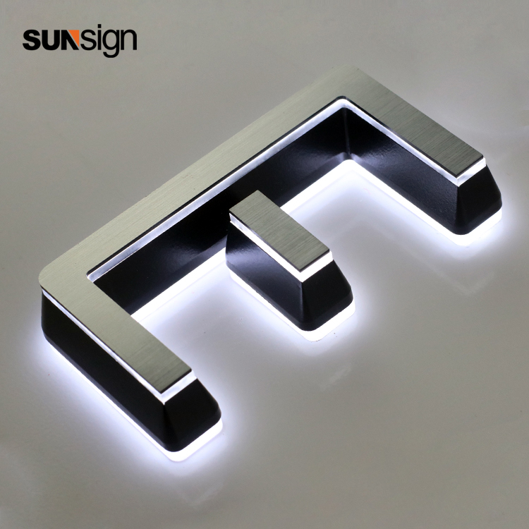 3D Led Letters Acrylic Led Lighting Sign Brushed Metal Surface For Advertising Commercial Signs