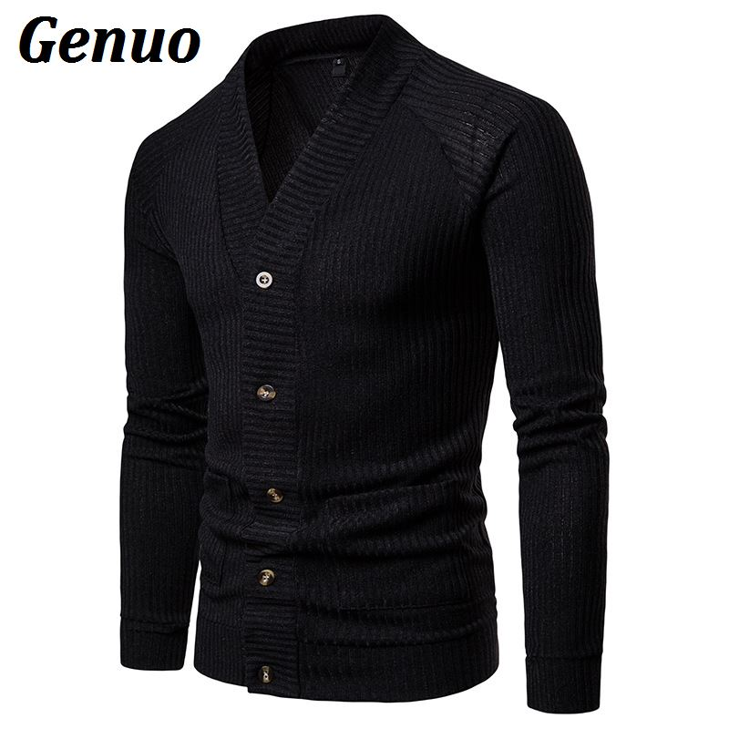 Genuo 2019 Men Cardigan Jacket Fashion Knitted Slim Fit Sweater Casual Long Sleeve Patchwork Button Coat Mid-Long Tops Knitwear