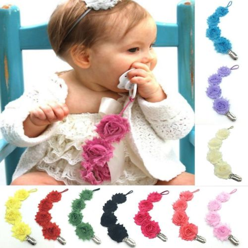 Baby Girls Infant Rose Flower Dummy Pacifier Clip Teething Soother Holder Chain Pacifier