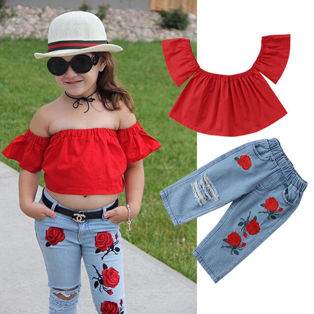 86a27cc241f3 2pcs Fashion Girls Clothing Set 2019 Summer Baby Girls Clothes Red Top  Ruffles+Denim Floral Hole Pant Children Clothing Ailing-in Clothing Sets  from Mother ...