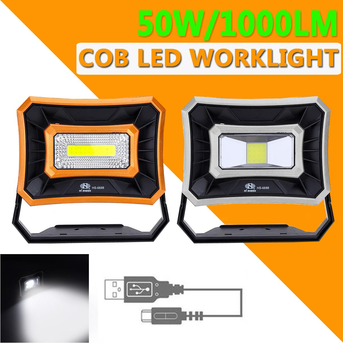 50W 1000LM LED COB Work Lamp Outdoor Camping Light USB Rechargeable Spotlight