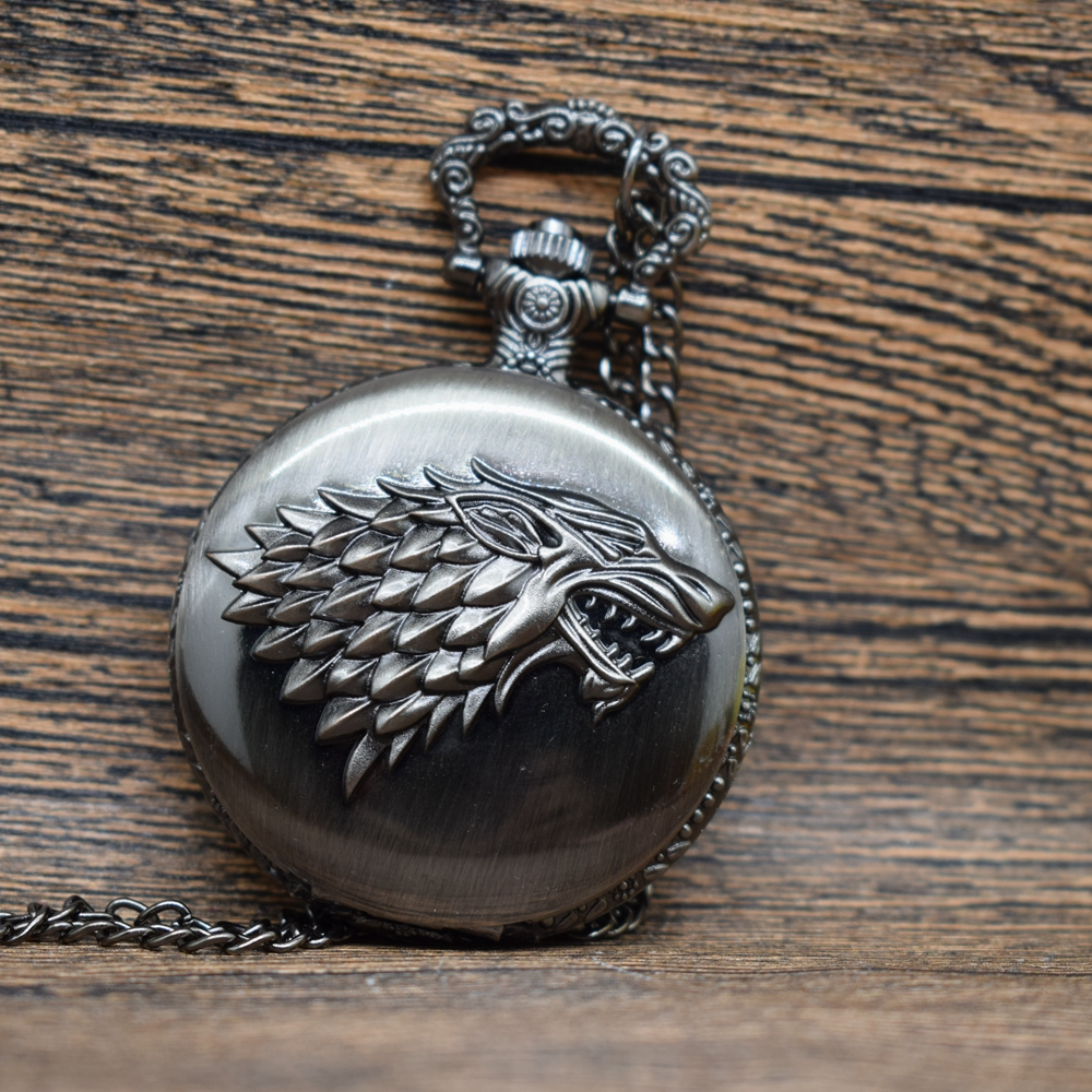Pocket & Fob Watches  Wolf  Game of Thrones Quartz Pocket Watch Men/Women Necklace Chain Father's Day Gifts