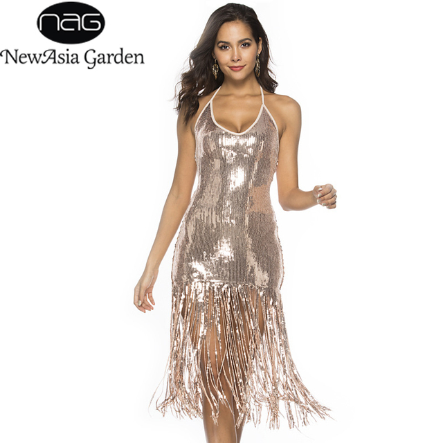 NewAsia Sexy Fringe Sequin Party Dress Women Winter Vintage Halter V-Neck  Long Dress Shiny 44f16c9d92f7