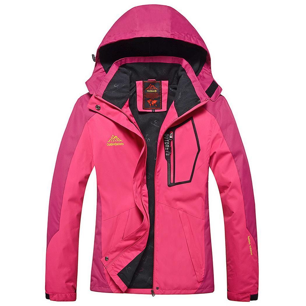 Décontracté Patchwork montagne imperméable Ski extérieur veste régulière à capuche coupe-vent poche manteau toutes les saisons