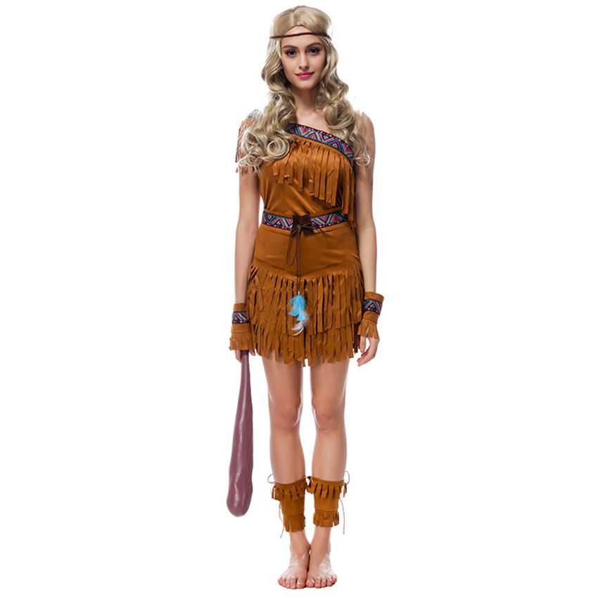 Primitive Women Adult Native American Indian Cosplay Dress for Women Carnival Halloween Costume Party Fancy Dresses Ancient