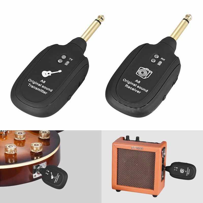 ABGZ-UHF Guitar Wireless System Zender Ontvanger Ingebouwde Oplaadbare Ingebouwde Oplaadbare Draadloze Gitaar Zender