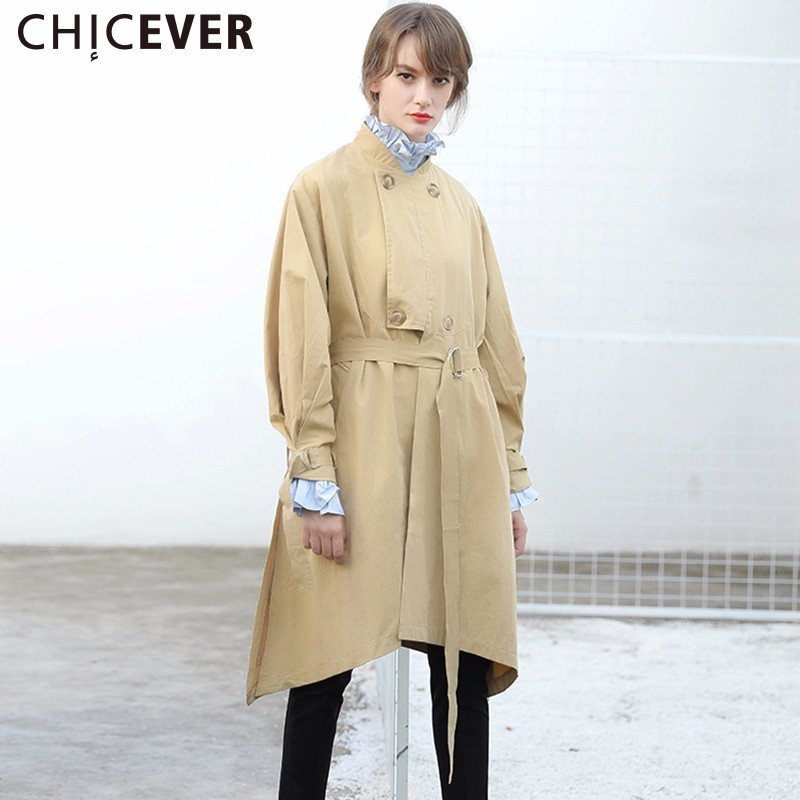 CHICEVER Autumn Side Split   Trench   Coat Female Women's Windbreaker With Belt Loose Asymmetric Black Basic Coats Fashion 2019 New