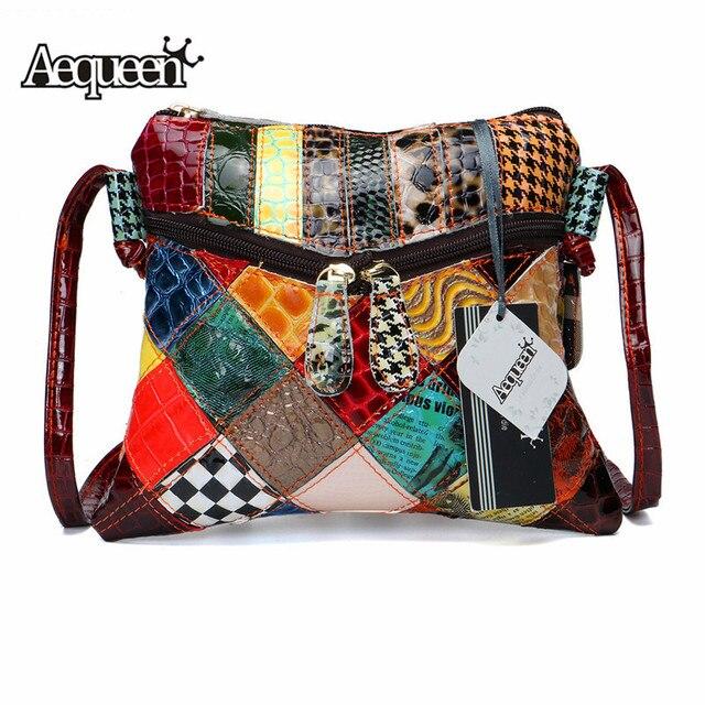 AEQUEEN حقائب كتف ملونة للنساء حقيبة ساعي المرقعة أكياس رفرف صغيرة تصميم Crossbody Bolsas الأنثوية لون مشرق