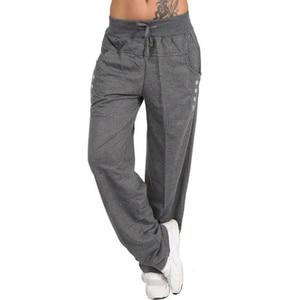 Image 4 - נשים מקרית Loose ספורט הרמון מכנסיים טרנינג רחב רגל גבוהה מותן תחרה עד ישר רצים מכנסיים בתוספת גודל Pantalon femme