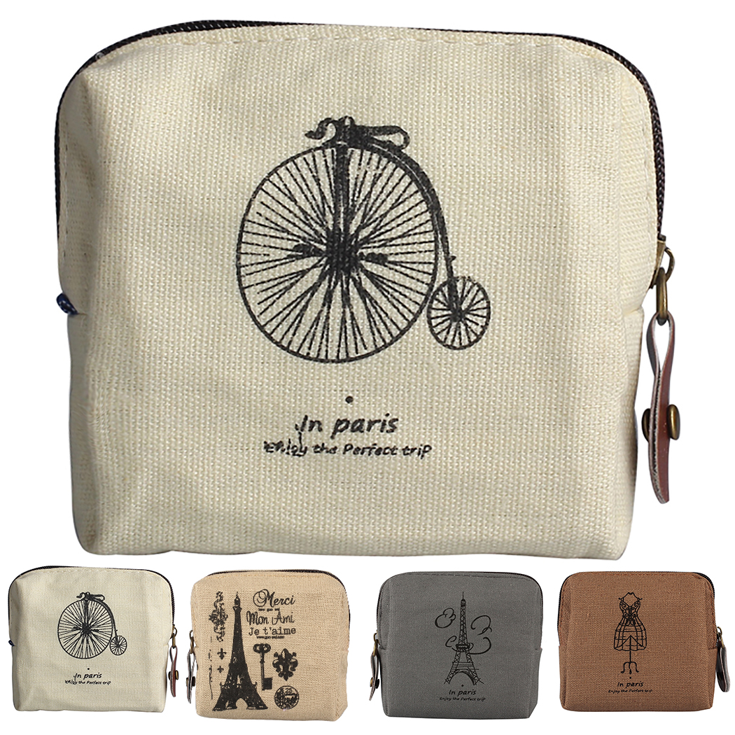 Zipper Wallet Fashion Retro Linen Coin Wallet Coin Purse Cash Bag For Women Women Clutch Wallet Split Leather Wallets