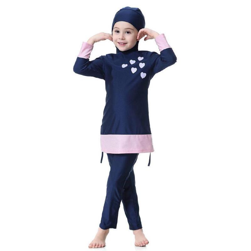 Kids Girl Muslim Swimwear Arab Islam Long Sleeve Two-Piece Hoodie Swimsuit