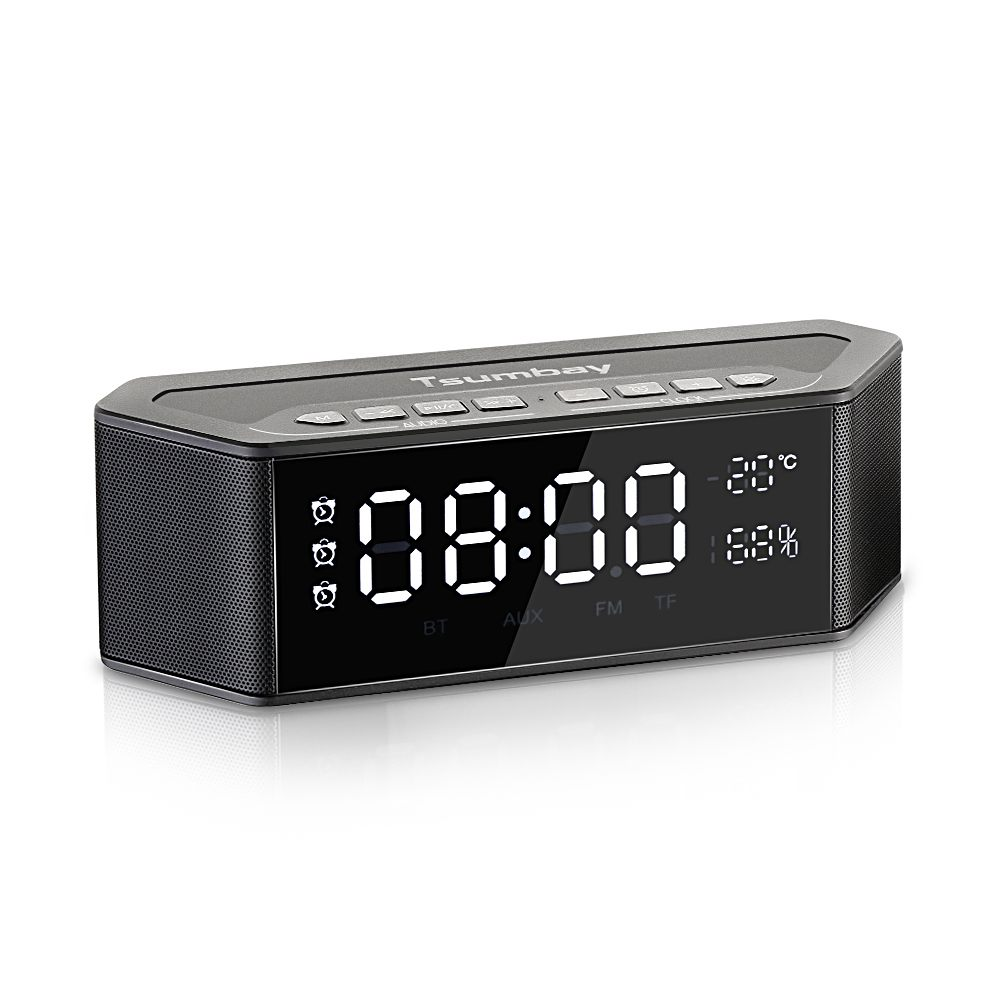 Tsumbay Alarm Clock bluetooth Speakers Digital FM Radio Stereo Sound LED Dimmable Display Multi-Functional Wireless SpeakersTsumbay Alarm Clock bluetooth Speakers Digital FM Radio Stereo Sound LED Dimmable Display Multi-Functional Wireless Speakers
