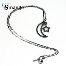 5Pieces, Women Fashion Moon and Star Shape CZ Prong Setting Necklace  Connector,Black Color,Can Wholesale